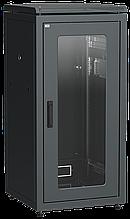 """ITK Шкаф сетевой напольный 19"""" LINEA N 18U 600х600мм стеклянная передняя дверь черный"""