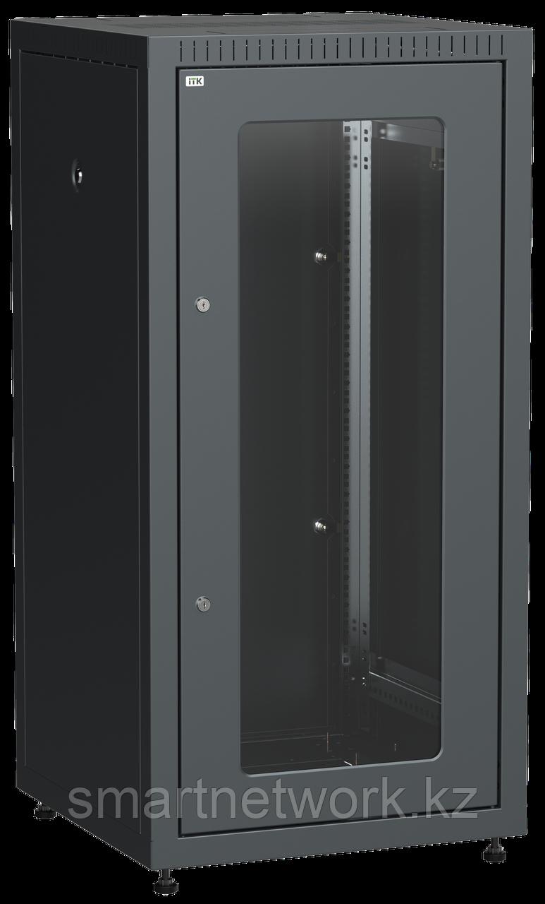 ITK Шкаф сетевой напольный LINEA E 18U 600х600мм стеклянная передняя дверь задняя металлическая черный