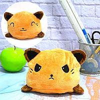 Мягкая игрушка перевертыш с улыбающимся и хмурящимся лицом кошка