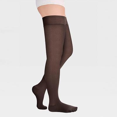 ID-300T Компрессионные чулки прозрачные (женские, закрытый носок, простая резинка), коричневый
