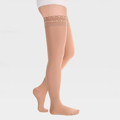 ID-301 Компрессионные чулки (женские, закрытый носок, ажурная резинка), бежевый