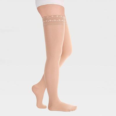 ID-301T Компрессионные чулки прозрачные (женские, закрытый носок, ажурная резинка), бежевый