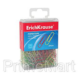 Скрепки метал. с виниловым покрытием ErichKrause® цветные, 28мм (пластиковая коробка 200 скрепок)