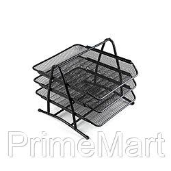 Лоток металлический Comix B2163, 3 секции, горизонтальный, для бумаг