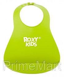 Нагрудник Roxy Kids мягкий с карманом для крошек RB-402G Зеленый