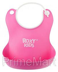 Нагрудник Roxy Kids мягкий с кармашком и застежкой RB-401-R Розовый