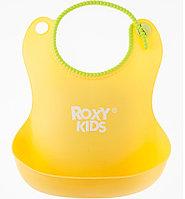 Нагрудник Roxy Kids мягкий с кармашком и застежкой RB-401-Y Желтый