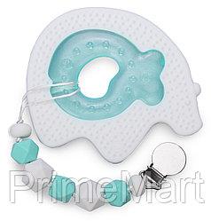 Набор прорезывателей Happy Baby силиконовый и ЭВА с водой с держателем White and Mint