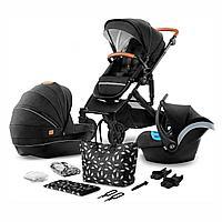 Коляска 3в1 Kinderkraft PRIME Black + сумка для мамы
