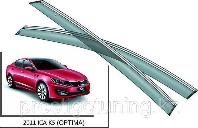 Дефлекторы боковых окон с хромированным молдингом на Kia Optima