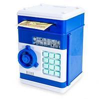 Копилка-сейф электронная с кодовым замком и купюроприемником Money Bank (Синий)
