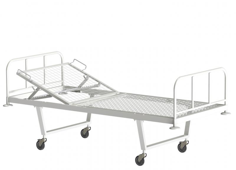 Медстальконструкция Кровать металлическая общебольничная с подголовником КФО-01-МСК МСК-101 на колесах