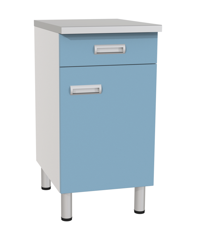 Медстальконструкция Стол лабораторный однотумбовый с ящиком, дверкой и полкой СЛ-02-«МСК» (код СЛ-02-206)