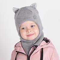 Шапка-шлем с ушками кошка, цвет серый, размер 46-50