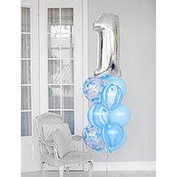 Фонтан из шаров '1 годик', для мальчика, латекс, фольга, 10 шт.