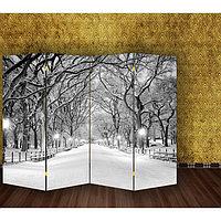 Ширма 'Зимний парк', двухсторонняя, 200 x 160 см
