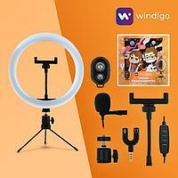 Набор Юного Блогера Windigo KIDS CB-99, кольцевая лампа, штатив, микрофон, пульт, переходник
