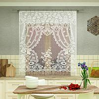 Штора кухонная 200х170 см, белый, 100 п/э, без шторной ленты