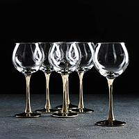Набор бокалов для вина GiDGLASS «Венеция», 280 мл, 6 шт, цвет золото,