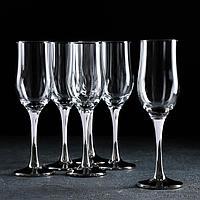 Набор бокалов для шампанского GiDGLASS «Венеция», 190 мл, 6 шт, цвет серебро