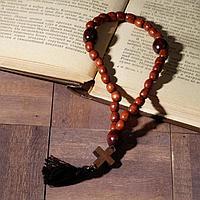Чётки деревянные 'Православные' с крестиком, кисть, 30 бусин, цвет коричневый