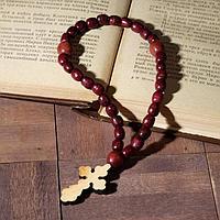 Чётки деревянные 'Православные' 30 бусин, крестик, цвет красный (комплект из 2 шт.)