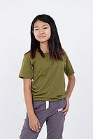 Детская футболка из хлопка. Цвет: Зеленый Хаки