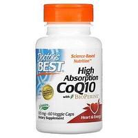 Doctor's Best, коэнзим Q10 с высокой степенью всасывания, с BioPerine, 100 мг, 60 вегетарианских капсул