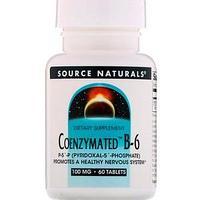 Source Naturals, Ферментированный витамин B6, 100 мг, 60 таблеток Source Naturals, Ферментированный витамин B