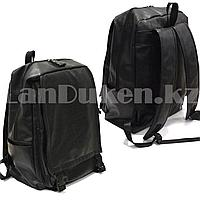 Рюкзак ранец эко-кожа с накладным отделением (черного цвета)