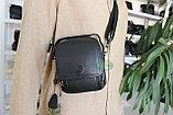 Мужская кожаная сумка барсетка через плечо, фото 9