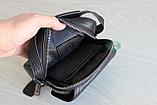 Мужская кожаная сумка барсетка через плечо, фото 7