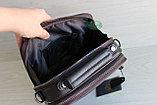 Мужская барсетка сумка через плечо из натуральной кожи HT коричневая, фото 5