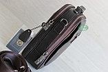 Мужская барсетка сумка через плечо из натуральной кожи HT коричневая, фото 4