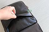 Мужская барсетка сумка через плечо из натуральной кожи HT коричневая, фото 6