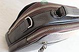 Мужская барсетка сумка через плечо из натуральной кожи HT коричневая, фото 3