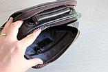 Мужская барсетка сумка через плечо из натуральной кожи HT коричневая, фото 8
