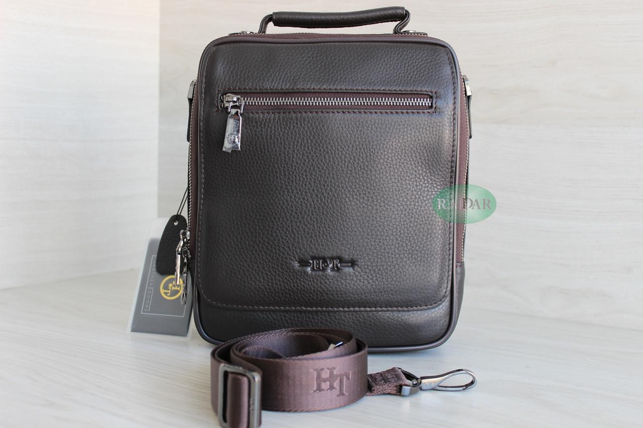 Мужская барсетка сумка через плечо из натуральной кожи HT коричневая
