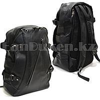 Рюкзак ранец эко-кожа с накладным отделением с USB, AUX входом и шнурами (черного цвета)