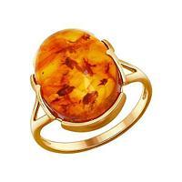 Кольцо из позолоченного серебра с янтарём