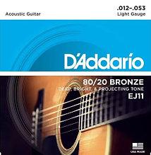 Струны для акустической гитары Light 12-53 D`Addario EJ11 80/20