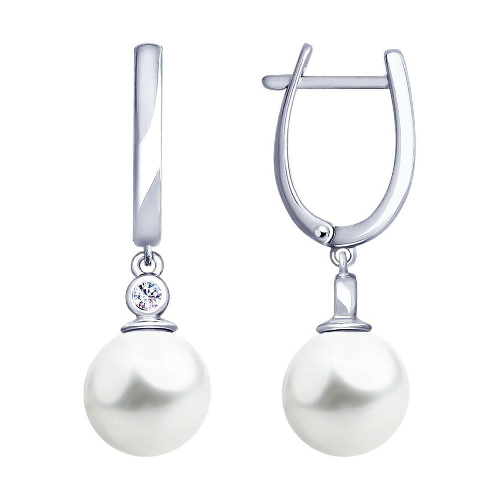 Серьги из серебра с искуственным жемчугом и фианитом