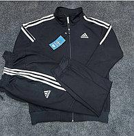 Мужской спортивный костюм ADIDAS , цвет черный тремя белыми полосками