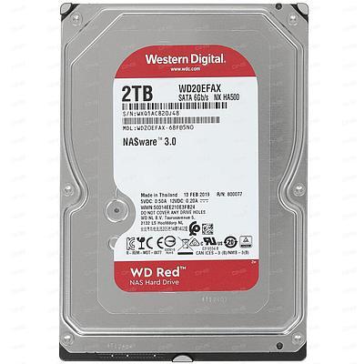 Жесткий диск HDD 2Tb Western Digital RED, SATA-III, 3,5 IntelliPower 256MB (WD20EFAX)