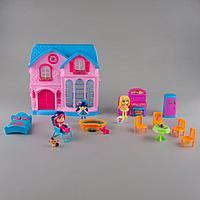 Игровой набор кукольный домик со светом и звуком, мебель, 3 куклы, для девочек, green furn