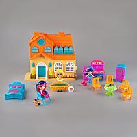 Игровой набор кукольный домик со светом и звуком, мебель, 3 куклы, для девочек, orange furn. Barmila