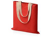 Сумка для шопинга Steady из хлопка с парусиновыми ручками, 260 г/м2, красный