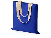 Сумка для шопинга Steady из хлопка с парусиновыми ручками, 260 г/м2, синий