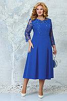Женское осеннее кружевное синее нарядное большого размера платье Ninele 5847 василек 54р.