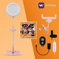 Набор Юного Блогера Windigo KIDS CB-98, лампа на штативе, микрофон, пульт, линзы,СЗУ,розовый